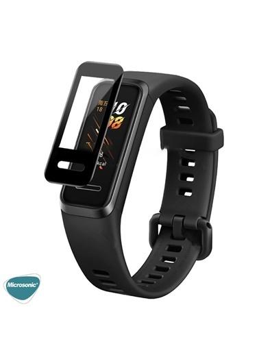 Microsonic Huawei Band 4 Tam Kaplayan Temperli Cam Full Ekran Koruyucu Siyah Siyah